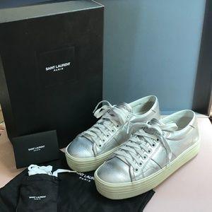 Saint Laurent Metallic Platform Sneakers